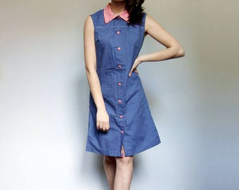 Summer Dress Women Vintage 60s Blue Sundress Gingham Dress 1960s Button Up Dress - Medium M