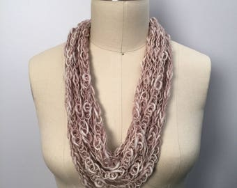 Merino Wool Lucetted Scarf Necklace with Repurposed Leather Detail - Hand Knit w/ Lucet