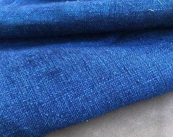 PRECUT 2.2 Yards 100% Medium-eavy Linen Denim Color Woven Fabric