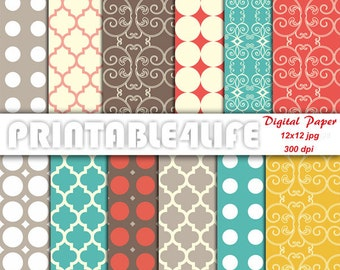 Colorful digital paper pack, mid century background patterns, Quatrefoil, Dot, Printable Scrapbook paper, Personal / Commercial Use (v05)