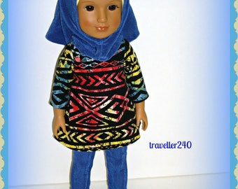 "14"" Doll Clothes, Muslim Style Handmade Fashion Outfit for Glitter Girls, Wellie Wishers by American Girl, Tunic Hijab Pants by traveller240"