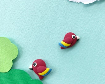 Macaw bird stud earring, polymer clay made, colourful, in red