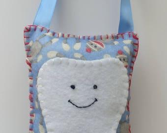 Tooth Fairy Pillow Blue Sock Monkey Print