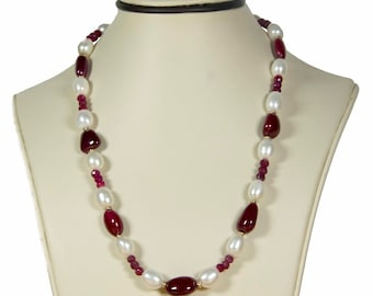 14K Yellow Gold Pearls Ruby Nugget Necklace Pearl Necklace Ruby Necklace Fine Jewelry Birthstone Jewelry Gemstone Jewelry