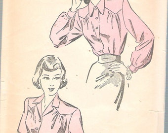 Vintage 1947 Advance 4681 Blouse in Two Styles Sewing Pattern Size 16 Bust 34""