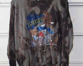 Vintage Motorcycle Bleach Dye Sweatshirt