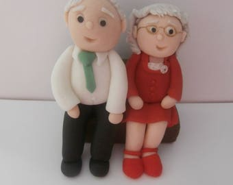 Edible elderly couple, can customize,cake topper,decoration,anniversary,celebration,birthday