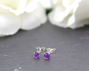 Sterling Silver Amethyst Stud Earrings, February Birthstone Earrings