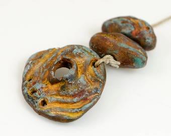 Rustique... ceramic Artisan Bead set