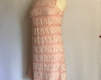 Vintage Pink Lace Beaded Party Dress// Small// I. Magnin & Co.//Below Knees