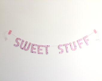 Sweet Stuff wall banner on sprinkle paper