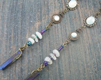 chakra earrings moon goddess earrings spiritual earrings zen earrings opal moonstone quartz earrings in yoga boho new age zen  gypsy style