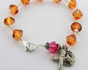 Swarovski Crystal Rosary Bracelet, Crystal Copper, bicones, Sterling Silver
