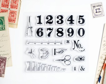 Clear Stamps - Vintage Numbers, Hands, Measurements, for Paper Crafts, Scrapbooking, Art Journaling, Stationery - 4x4 in set