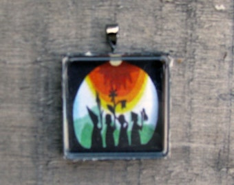 FAERIES MAGIC PASS Necklace White Jewelry Gift  Art Print on Recycled Paper Under Glass Shield
