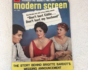 Modern Screen Magazine, december 1958, Debbie Reynolds, Elizabeth Taylor, Eddie Fisher, vintage magazine