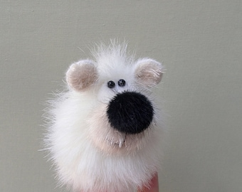 White little bear. Finger theatre. Penlight theater. Thimble. Finger puppets. Small animal puppet.