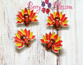 Turkey Button Sliders - Thanksgiving Sliders - Turkey embellishments - You choose 2 or 4pc Turkeys - Bling