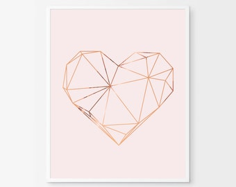 Geometric Heart Print - Copper Heart - Copper and Blush Home Decor - Copper Foil Print - Copper Wall Art - Scandinavian Art - Copper Pink