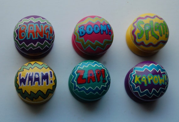 Comic Book Word Art Drawer Knobs/ Cupboard Handles Hand Painted Set of 6 Drawer Knobs 3 Sizes Available 30mm, 40mm, 53mm