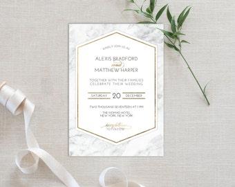 Wedding Invitation Template | Editable Invitation Printable | Wedding Marble Gold Frame Invite | No. PW 2183A