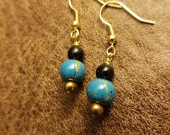 Turquoise, gold, and black dangle earrings