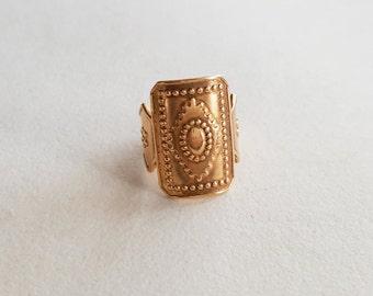 Kalevala Koru Vintage Shield Bronze Ring, Finland (F1297)