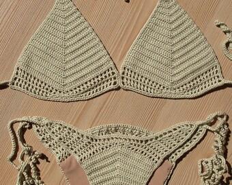 EXPRESS CARGO!!! Full Lined Beige Crochet Bikini, Women Crochet Brazilian Bikini, 2018 Summer Trends, Holidays Accesories / FORMALHOUSE