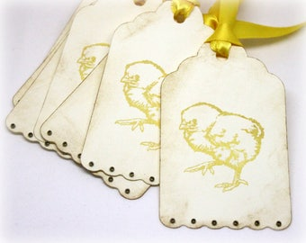 Easter Gift Tags (Double Layered) - Handmade Baby Chick Hang Tags - Chicken - Vintage Style - Baby Shower - Farm Animal Labels (Set of 8)