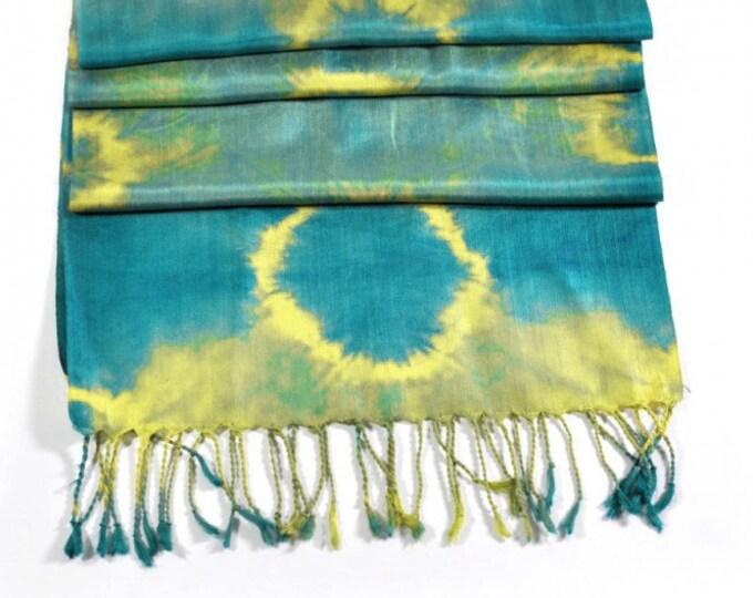 Corona Blue Ikat Silk Scarf - 6008a
