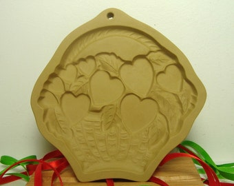 Hearts in Basket Cookie Mold Valentine Brown Bag 1992 Hill Design Romance Love