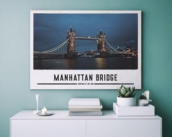 Manhattan Bridge/Famous sights poster Print