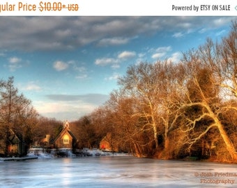 SALE 20% Off Winter Morning on Lake Afton, Landscape Photography, Bucks County, Pennsylvania, Fine Art Photograph, Blue Sky, Church, Old Lib