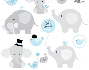 BABY Boy ELEPHANTS - Clip art Animals, Cute Elephants, Commercial Use OK, Baby Graphics, Blue Animal Clipart, Digital Scrapbook Papers