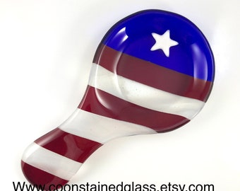 American Flag Spoon Rest, Glass Spoon Rest, Spoon Holder, Kitchen Decor, Patriotic Gift, Red White and Blue Spoon Rest, Military Gift, Star