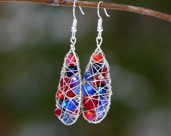 Long nautical earrings, Red and blue earrings, dangle earrings, boho earrings, gift for her