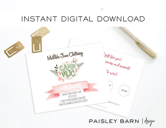 INSTANT DOWNLOAD Matilda Jane Clothing Scratch off Cards  | customer gift, trunk keeper, 2 sided, business card, printed, customer gift