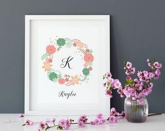 Flower Custom Girl's Name Wall Art Digital File - Pink Girls / Nursery Room Decor/ Baby Shower Gift / Personalized Name