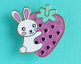 Bunny and Strawberry Enamel Pin - Cute Bunny Pin - Badge - Lapel Pin - Glitter Brooch - Kawaii Jewellery - cute gifts