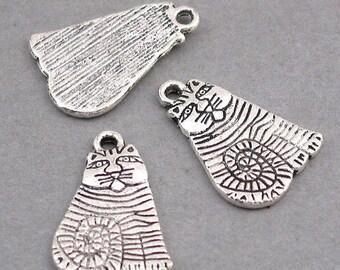 Cat Charms Antique Silver 6pcs pendant beads 13X20mm CM0214S