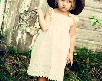 Rustic Flower Girl Dress... Cream, Ivory or White Eyelet...Vintage Lace...6m,9m,12m,2t,3t,4,5,6,7,8,10