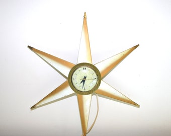 Vintage Starburst Clock Star Clock Gold and White Clock Atomic Clock Space Age Clock