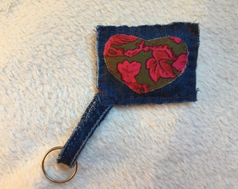 Jean key holder with heart