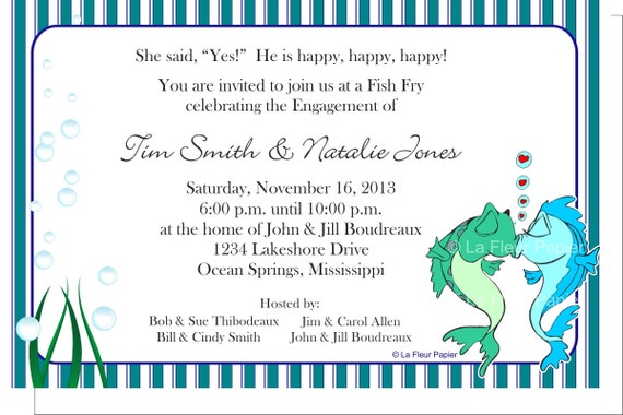 Items similar to Fish Fry Engagement Party Invitations Envelopes