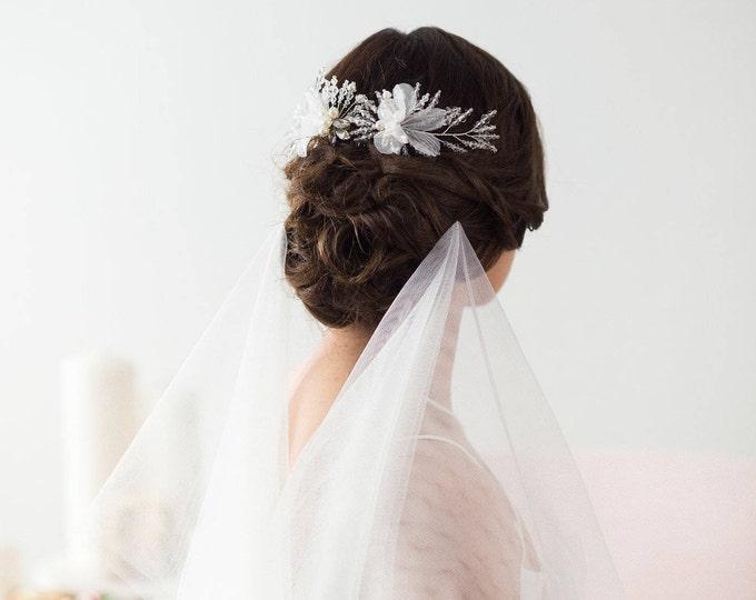 Bridal Hair Accessories, silver Bridal Headpiece, Winter Wedding Hair pins, Bridal Hair pins, Silver Hair piece, floral bridal hair pins