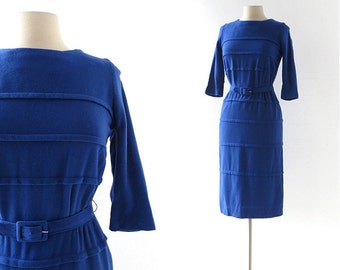 60s Blue Dress | Sapphire Blue Dress | 1960s Dress | XS S