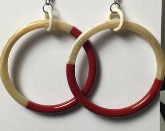 Red lacquer Ring Earrings