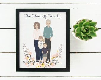 Personalised Illustrated Portrait Mothers Day Gift Custom Family Portrait Unique Gift For Mum Personalised Mothers Day Present Anniversary