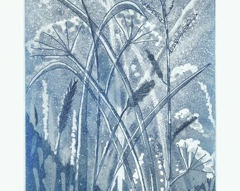 Summer Meadow Etching Original Print
