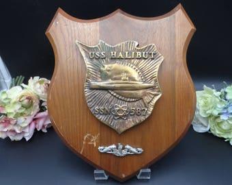 Vintage Commemorative US Navy Submarine 587 USS Halibut Service Plaque
